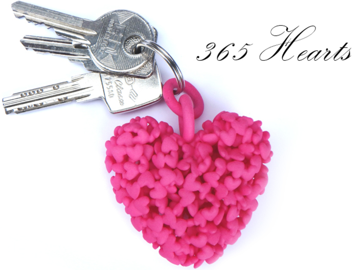 365 Hearts Key Ring 3d printed