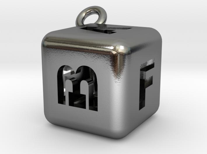 6-initial cube charm bracelet 3d printed
