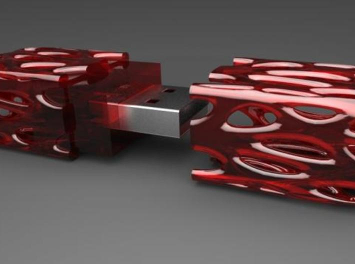 Growth Pattern Usb Drive 3d printed Transparent Red
