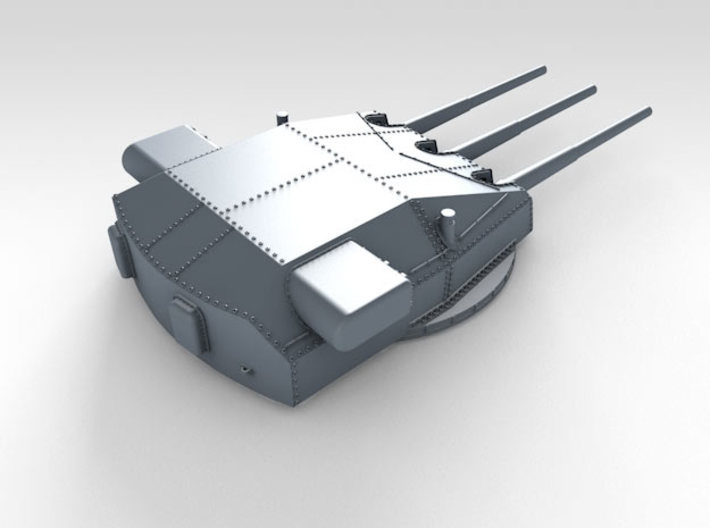 "1/192 DKM Gneisenau Turrets 28cm (11"") 1936 3d printed Render showing Anton and Caesar turret detail"