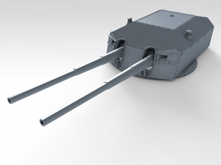 "1/128 Prinz Eugen 20.3cm/60 (8"") Guns with Barrels 3d printed 3d render showing A turret detail"