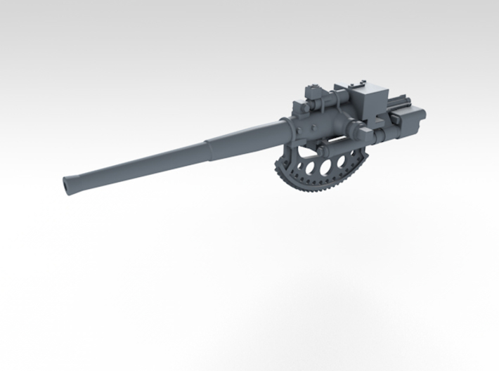 "1/192 4.7"" /40 (12cm) QF Mark VIII x6 No Shields 3d printed 3d render showing separate barrel"