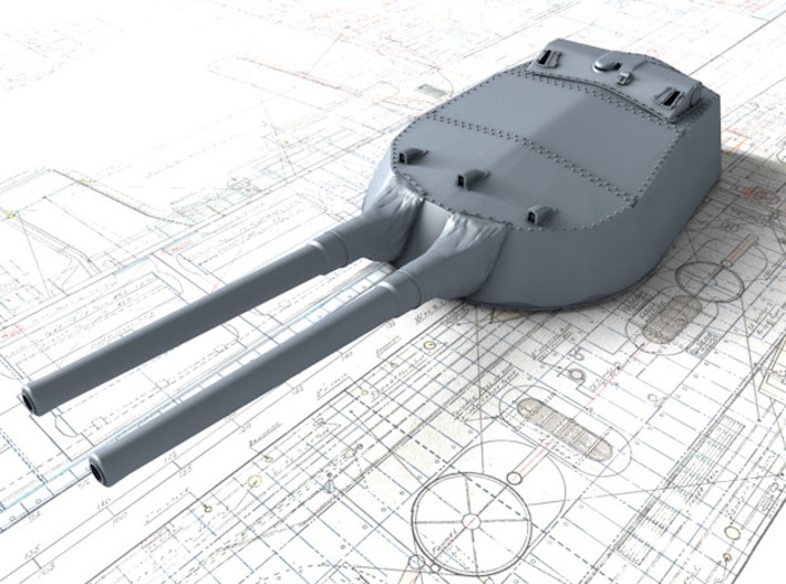 "1/600 15"" MKI QE Class Guns w. Blast Bags 1919 x4 3d printed 3d render showing A Turret detail"