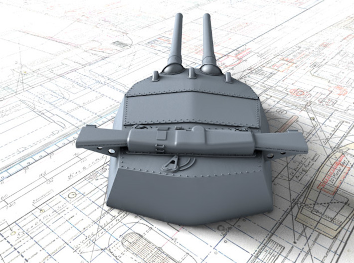 "1/700 15"" MKI* QE Class Guns w. Blast Bags x4 3d printed 3d render showing B Turret detail"