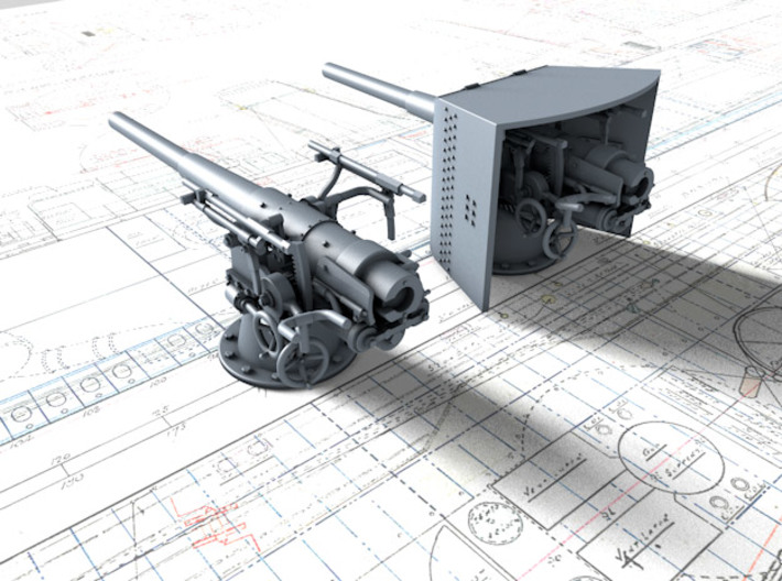 1/100 SMS Emden 10.5cm/40 SK L/40 Shields x6 3d printed 3d render showing shield in place with gun