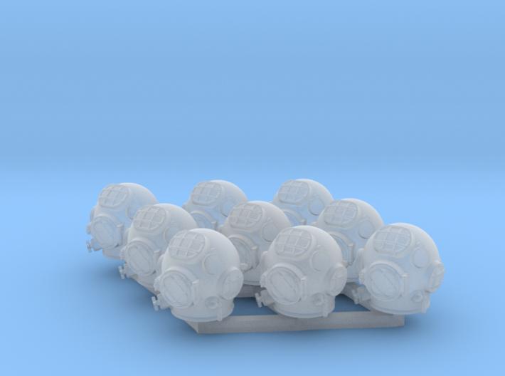9 Miniature Scuba Helmets 3d printed