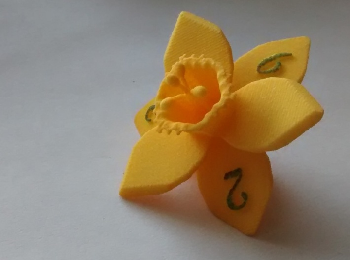 Daffodil D6 3d printed Numbers hand-inked.  Version 1 shown.