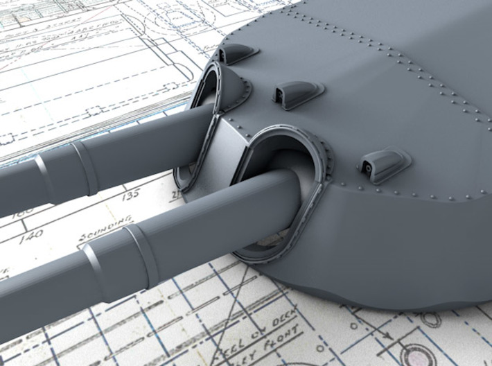"""1/700 15"""" MKI* HMS Warspite Guns 1942 x4 3d printed 3d render showing Turret face and 'Eyebrows'"""
