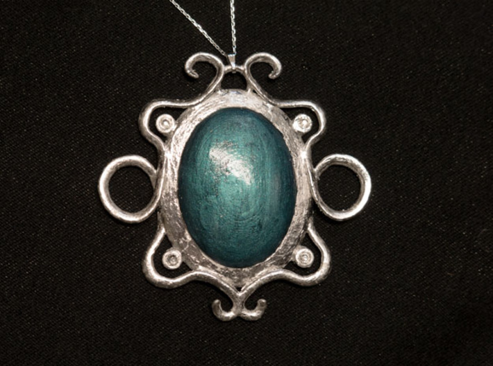 Oval stone pendant 3d printed With leaf silver, crystals and nailpolish