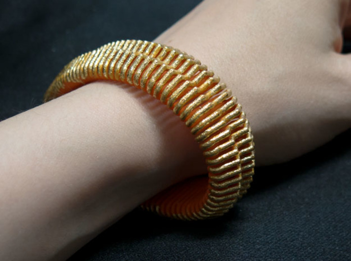 Wide Profile Spring 3d printed Spiced up with imitation leaf gold