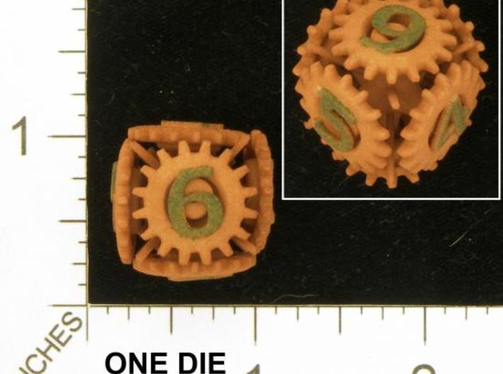 Gear Die 3d printed Photo by Kevin Cook in an early, unpolished, orange strong and flexible.