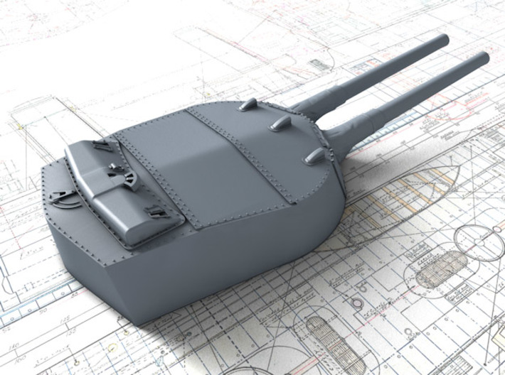 1/700 MKI* HMS Renown Guns 1924 with Blast Bags 3d printed 3d render showing A Turret detail