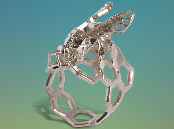 Western Honey Bee Ring 3d printed Featured Image: Premium Silver