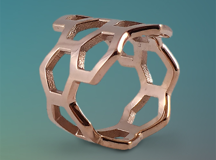 Honeycomb Ring 3d printed Featured Image: 14K Rose Gold Plated