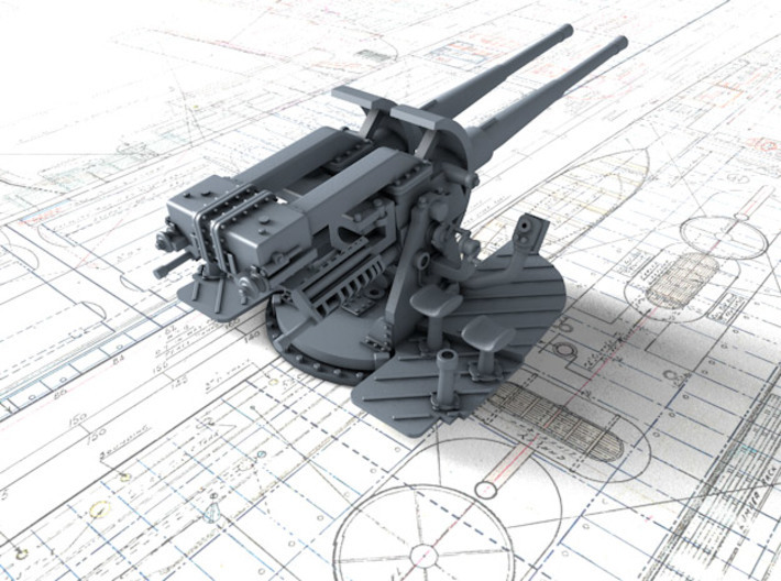 "1/48 Tribal Class 4.7"" MKXII CPXIX Twin Mount x1 3d printed 3d render showing product detail"