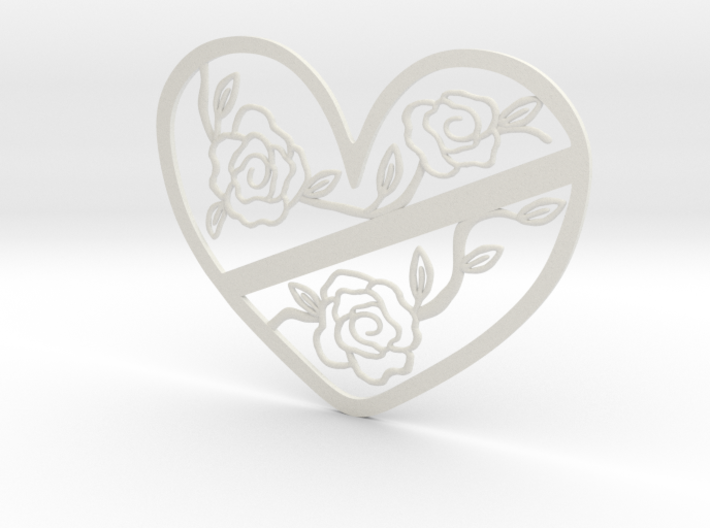 Heart with Roses 3d printed