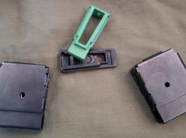 Mini-30 5-round Mag Coupler (Gen2) 3d printed Green Gen 2 disassembled