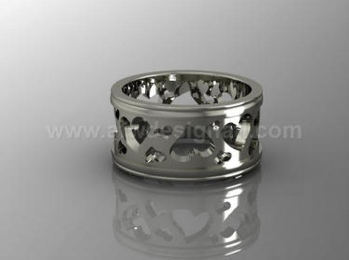 Cut-out Hearts - Repeating Pattern Ring 3d printed Ring with heart cut-outs