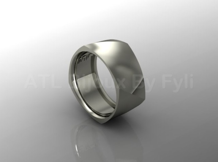 Band with Twisted Cushion Shape. 3d printed Wide band with twist - silver