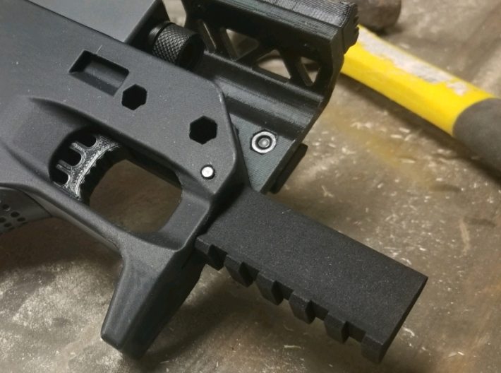 SRU PDW Front Rail Mod 3d printed Printed and fitted! Mine dropped right in, the pin just needed some coaxing with a hammer, but it couldn't be any more solid. Because the stock itself is printed, your mileage may vary.