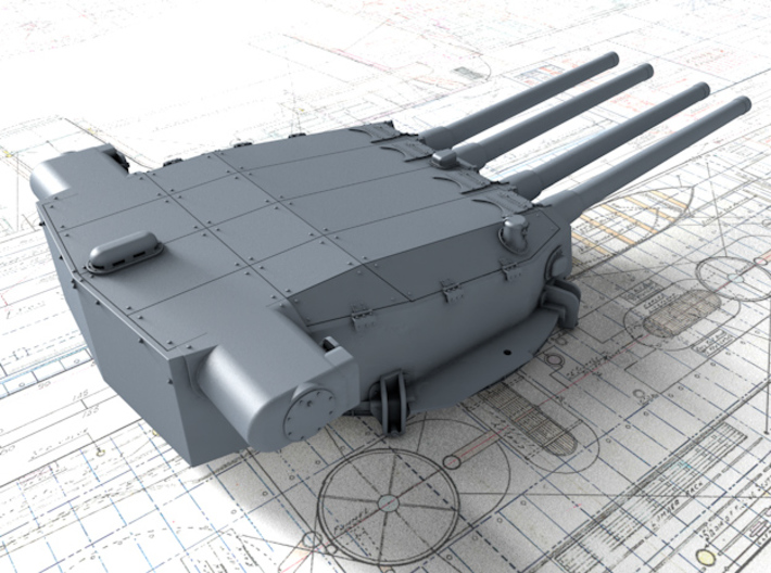 "1/700 Dunkerque 330 mm/50 (13"") Model 1931 Guns 3d printed 3d render showing Turret II detail"