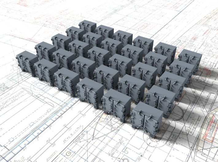 1/350 RN Ready Use Front Opening Lockers x30 3d printed 1/350 RN Ready Use Front Opening Lockers x30