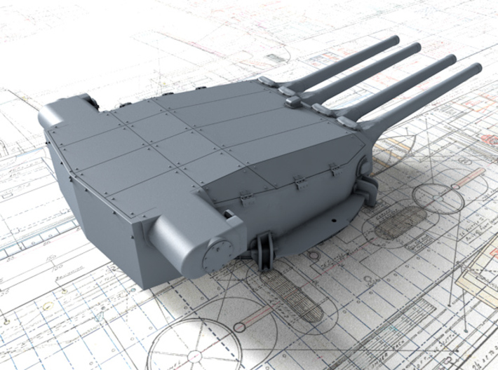"1/350 Dunkerque 330 mm/50 (13"") Guns w. Blast Bags 3d printed 3d render showing Turret I detail"