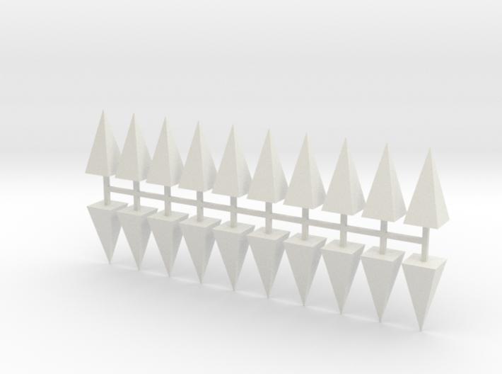 Parkhecke Buchsbaum Pyramide 20er Set - 1:120 3d printed