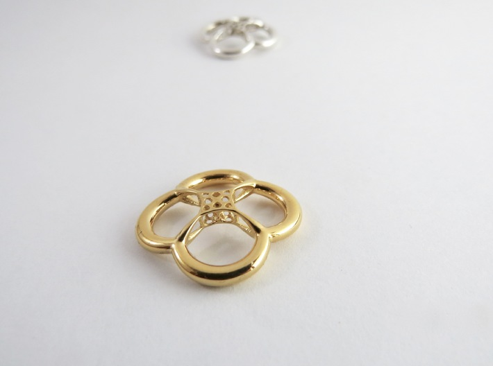 Flower Pod 3d printed 14K Gold Plated and Silver