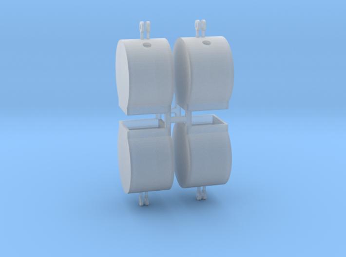 Altglascontainer Trommel 4erSet 1:100 3d printed
