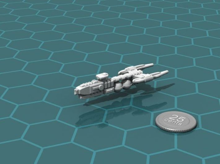 Frontier Explorer ship Calvert 3d printed Render of the model, with a virtual quarter for scale.