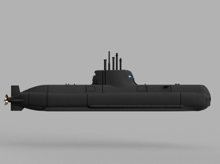 1/1250 Type 214 submarine (full hull and water lin 3d printed Computer software render.The actual model is not full color.