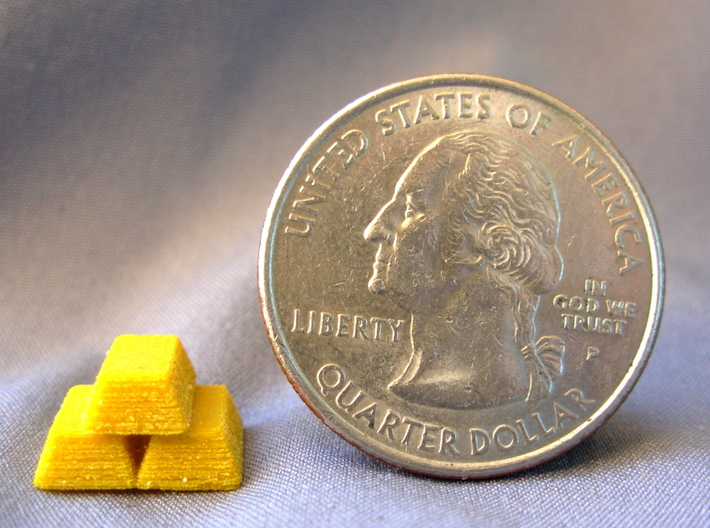 Gold Bars for Catan Indiana & Ohio Scenario 3d printed Gold bar next to a US quarter for sizing.