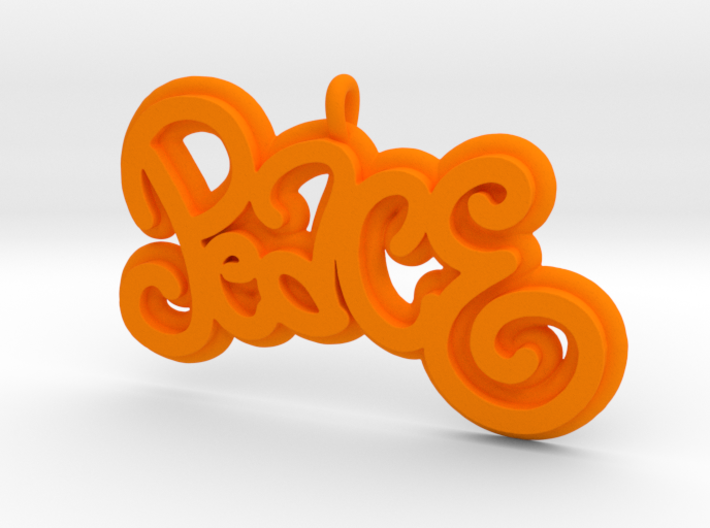 46 -PEACE -CURLY WRITING 3d printed