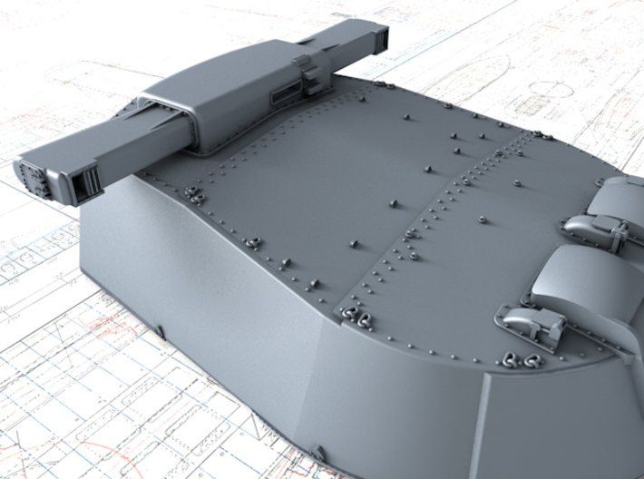 "1/600 HMS Vanguard MKI* 15"" Guns 3d printed 3d render showing Rangefinder detail"