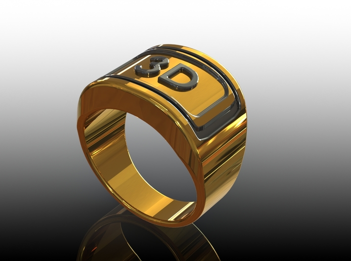 Gold Ring 3D 3d printed 3D View