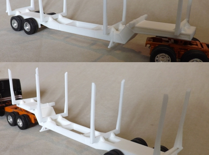 1/64th Scale 'Pitts' style logging trailer, 4 bunk 3d printed