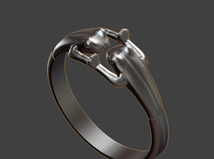 Frogs Ring size 8 3d printed angled