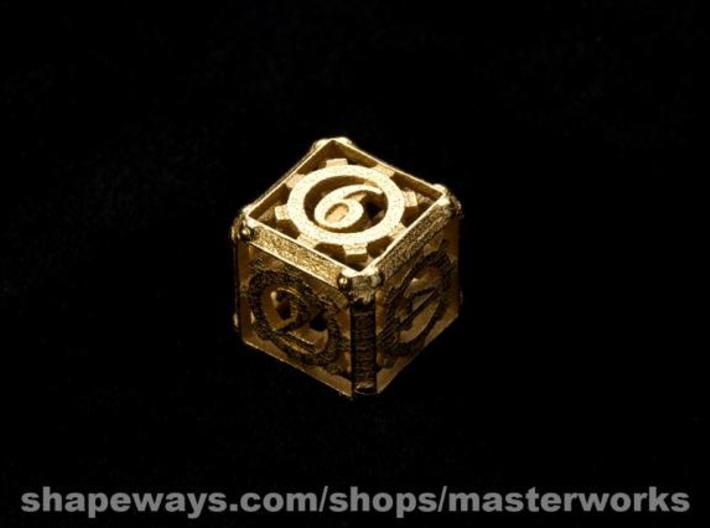 Steampunk d6 3d printed Gold Plated Glossy