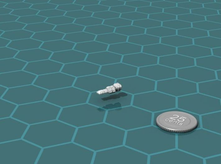 Eltanni Corvette 3d printed Render of the model, with a virtual quarter for scale.