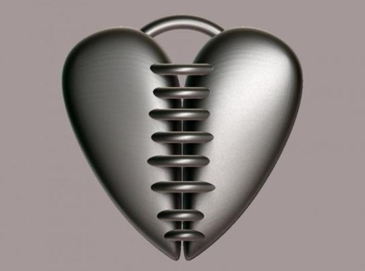 Stitched Heart - double-sided 3d printed Rendered in silver