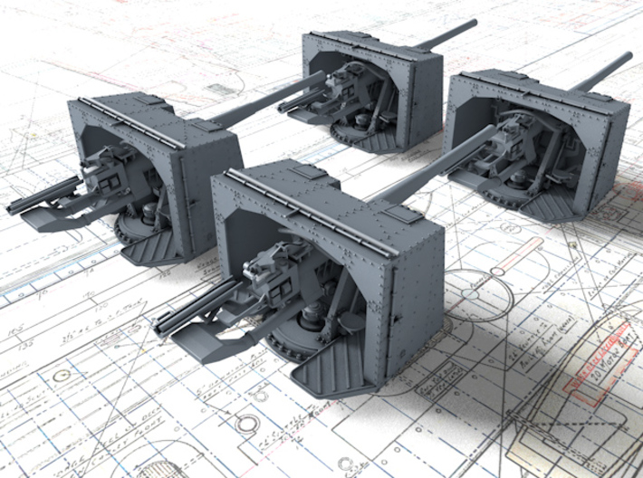 "1/128 4.7""/45 QF MK IX CPXVII Guns Ports Closed x4 3d printed 1/128 4.7""/45 QF MK IX CPXVII Guns Ports Closed x4"