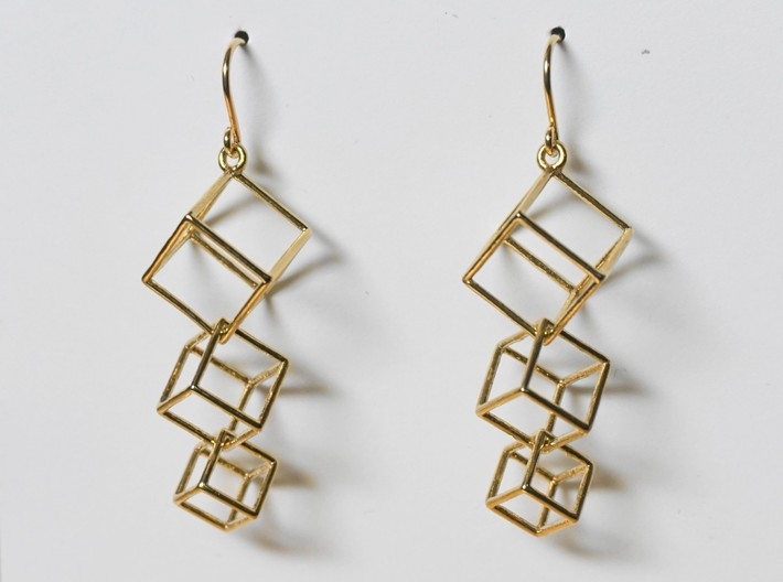 Dangling Cubes Earrings 3d printed Dangling Cubes Earrings in Raw Brass