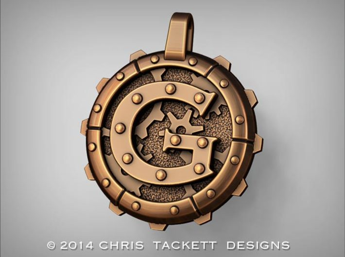 "Steampunk Monogram Pendant ""G"" 3d printed ZBrush Rendering approximating a bronze finish. Actual Bronze finish may look a bit different."