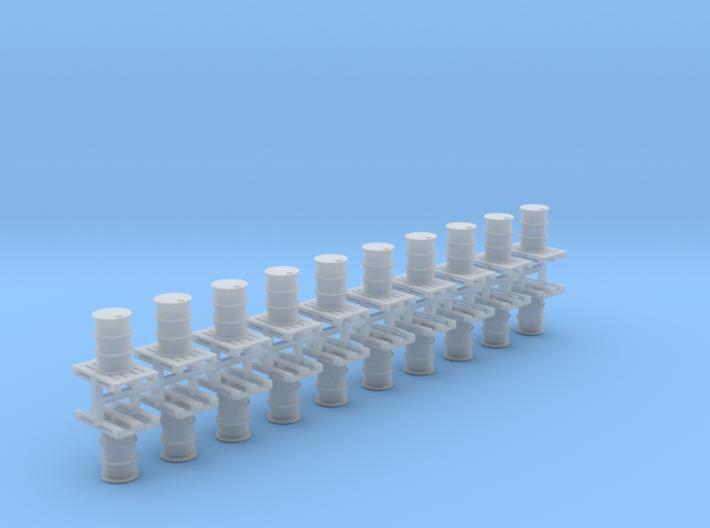 200 Liter Faß auf Europalette 20er Set - 1:87 H0 3d printed