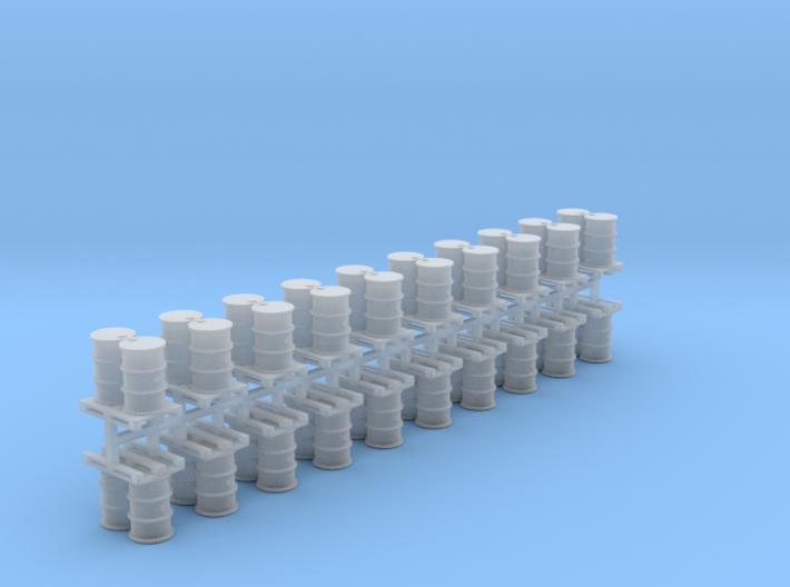 200 Liter Fässer auf Europalette 20er Set - 1:87 H 3d printed