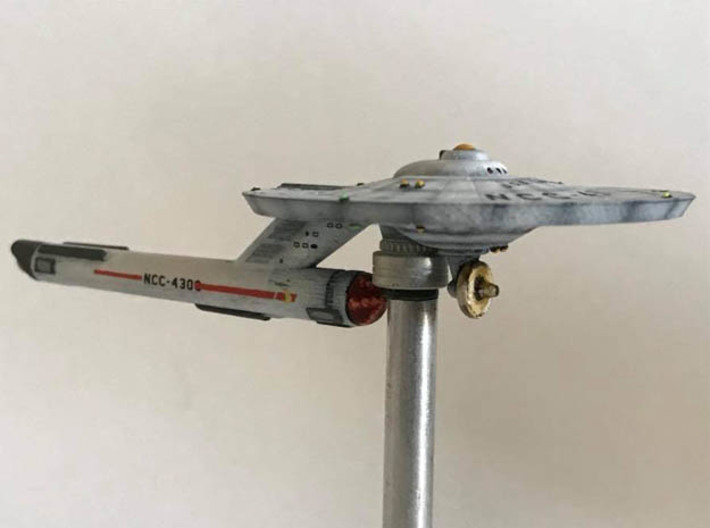 3125 Scale Federation Guided Weapons Destroyer WEM 3d printed Ship is in Smooth Fine Detail Plastic and painted by a fan. Stand not included.