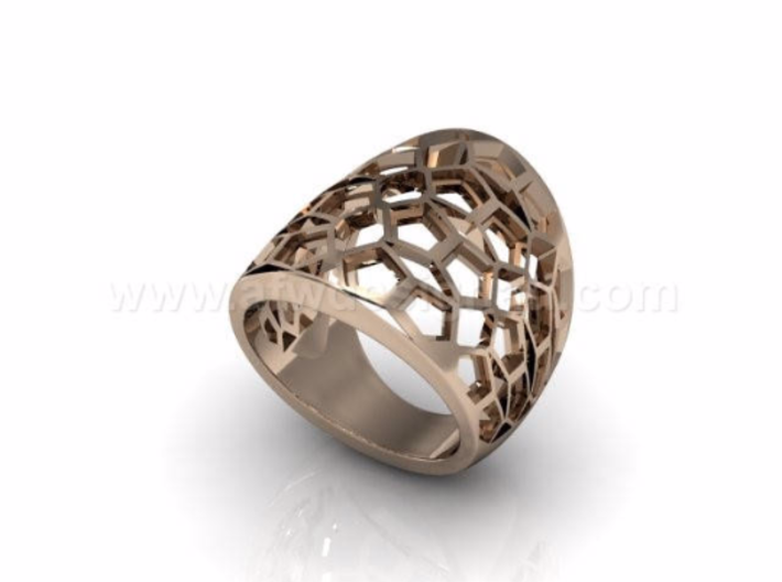 Domed Geometric Lattice Pattern Ring 3d printed Rose Gold