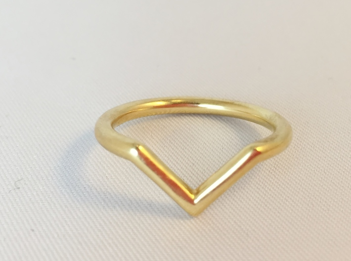 "V Ring 3d printed Polished Brass ""V"" ring - Front View"