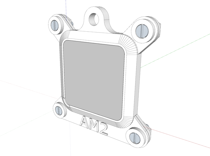 Socket AM2 CPU Bauble 3-Pack 3d printed The assembly as viewed in Sketchup.